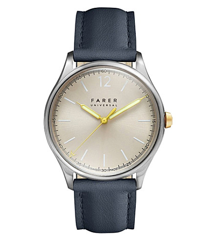 FARER Johnson stainless steel and leather watch