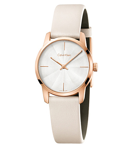 CALVIN KLEIN K2G236X6 City rose-gold plated stainless steel and leather watch