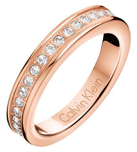 CALVIN KLEIN Hook rose gold-tone pavé crystal ring