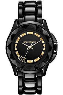 KARL LAGERFELD WATCHES KL1006 round coated stainless steel watch