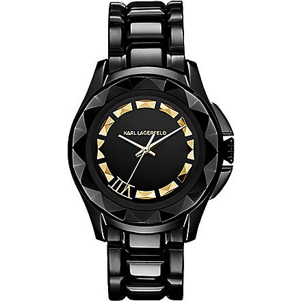 KARL LAGERFELD WATCHES KL1006 round coated stainless steel watch (Black