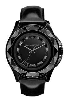 KARL LAGERFELD WATCHES KL1009 round stainless steel and leather watch