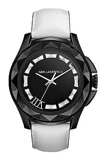 KARL LAGERFELD WATCHES KL1011 round stainless steel and leather watch