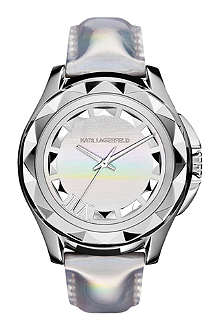 KARL LAGERFELD WATCHES KL1012 round holographic stainless steel and leather watch