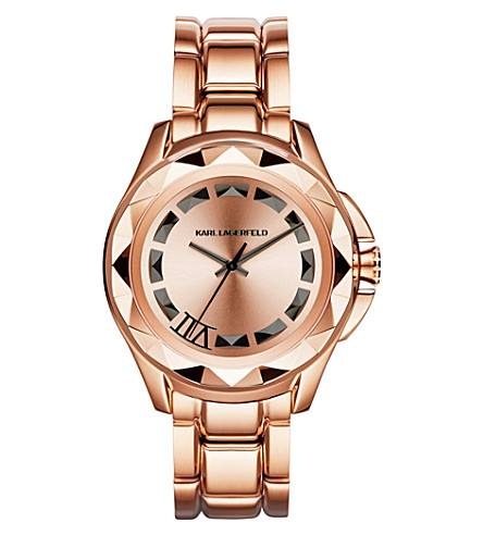 KARL LAGERFELD WATCHES Kl1033 rose gold-toned stainless steel watch (White