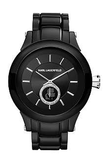 KARL LAGERFELD WATCHES KL1205 round polished stainless steel watch