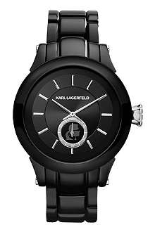 KARL LAGERFELD WATCHES KL1206 round polished stainless steel watch