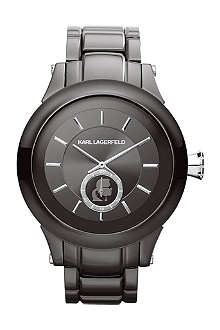 KARL LAGERFELD WATCHES KL1207 round polished stainless steel watch
