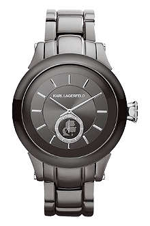 KARL LAGERFELD WATCHES KL1208 round polished stainless steel watch