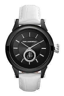 KARL LAGERFELD WATCHES KL1213 round polished stainless steel and leather watch