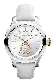 KARL LAGERFELD WATCHES KL1214 round stainless steel and leather watch