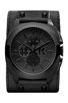 KARL LAGERFELD WATCHES KL1606 Stainless steel and leather chronograph watch