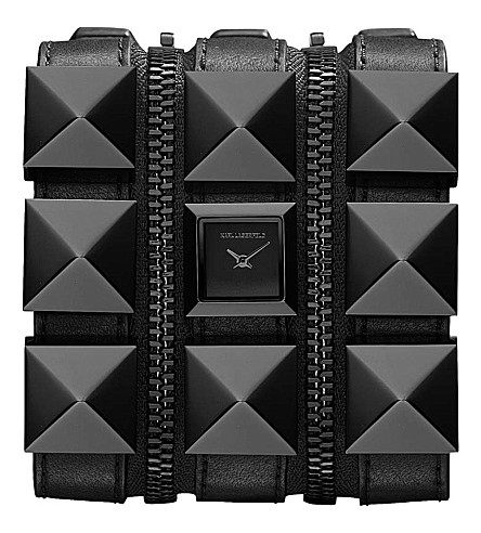 KARL LAGERFELD WATCHES KL2001 square stainless steel and leather watch (Black