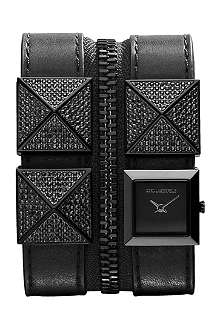 KARL LAGERFELD WATCHES KL2002 square stainless steel and leather watch