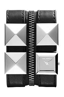 KARL LAGERFELD WATCHES KL2003 square stainless steel and leather watch