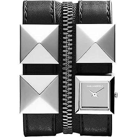 KARL LAGERFELD WATCHES KL2003 square stainless steel and leather watch (Grey