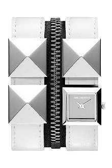 KARL LAGERFELD WATCHES KL2006 square stainless steel and leather watch
