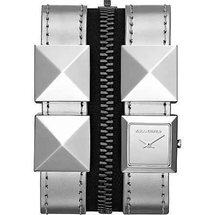 KARL LAGERFELD WATCHES KL2008 square stainless steel and leather watch