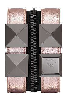 KARL LAGERFELD WATCHES KL2010 square gunmetal and leather watch