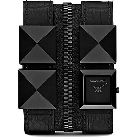 KARL LAGERFELD WATCHES KL2012 black stainless steel and leather unisex watch (Black