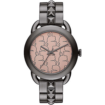 KARL LAGERFELD WATCHES KL2207 round gunmetal watch
