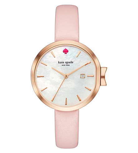 KATE SPADE KSW1325 Park Row rose-gold and leather watch