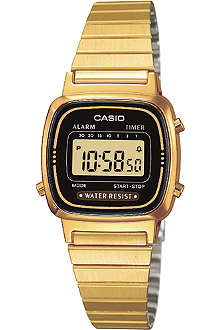 CASIO LA670WEGA1EF gold-plated digital chronograph watch