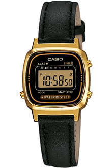 CASIO LA670WEGL1EF gold-plated and leather digital watch
