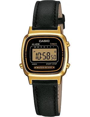 CASIO LA670WEGL1EF gold-plated and leather digital watch