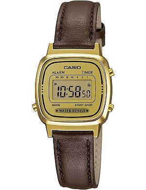 CASIO LA670WEGL9EF gold-plated and leather watch