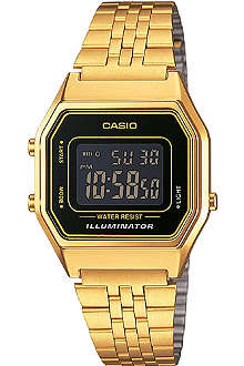 CASIO Unisex gold-plated black dial digital watch
