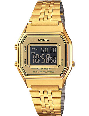 CASIO Unisex gold-toned gold dial digital watch