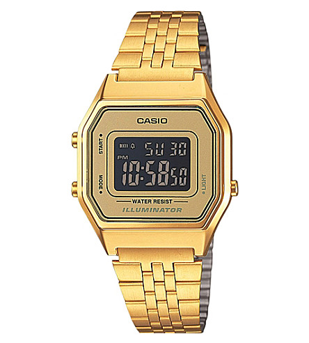 CASIO Unisex gold-toned gold dial digital watch (Gold