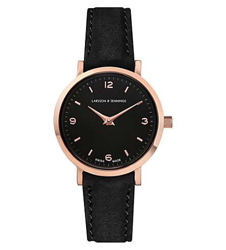 LARSSON & JENNINGS Lugano rose gold-plated and leather watch