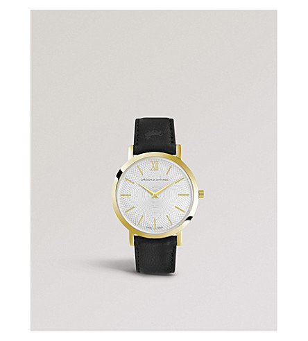 LARSSON & JENNINGS LGN33-LBLK-CG-Q-P-RGB-O Lugano Sloane 18ct rose-gold plated and leather strap watch