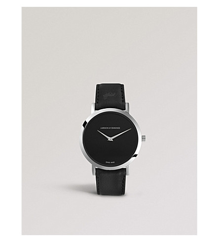 LARSSON & JENNINGS LGN40-LBLK-CP-Q-M-SB Lugano Jette stainless steel and leather strap watch