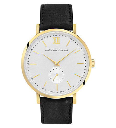 LARSSON & JENNINGS Kulor Classic gold-plated stainless steel and leather watch