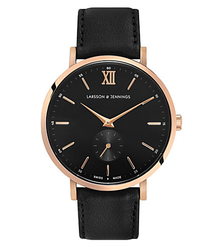 LARSSON & JENNINGS Kulor Classic rose gold-plated stainless steel and leather watch