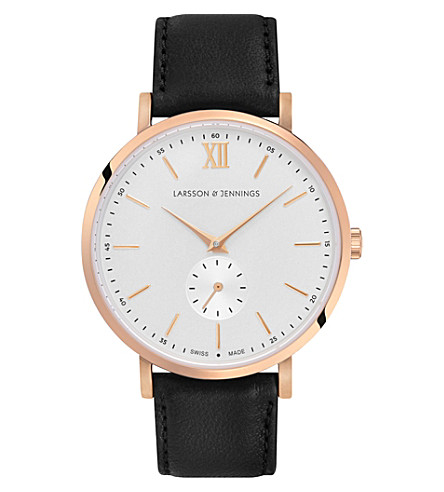 LARSSON & JENNINGS LGN38KLBLKCQPRGWO Saxon 18ct rose gold-plated and leather watch