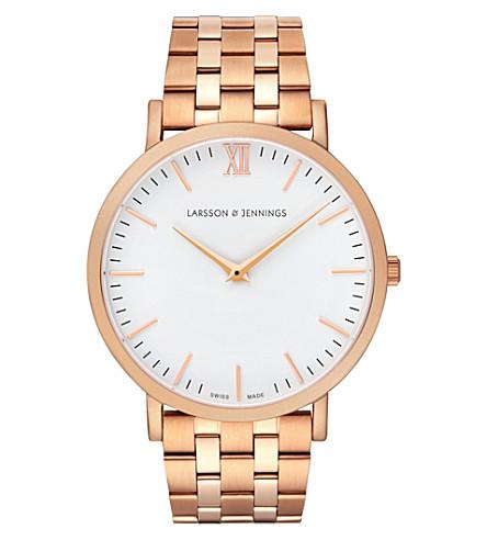 LARSSON & JENNINGS 卢加诺玫瑰镀金不锈钢手镯手表