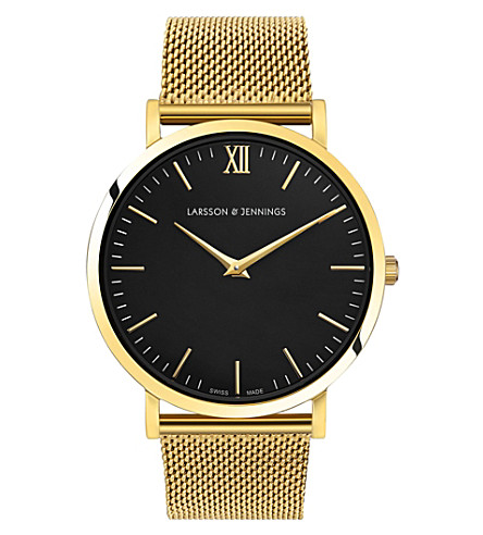 LARSSON & JENNINGS Lugano 18ct gold-plated stainless steel watch