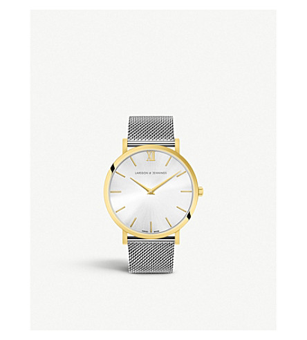 LARSSON & JENNINGS LGN40-CMSLVGLD-CS-Q-P-GW-O Lugano Solaris yellow gold-plated stainless steel watch