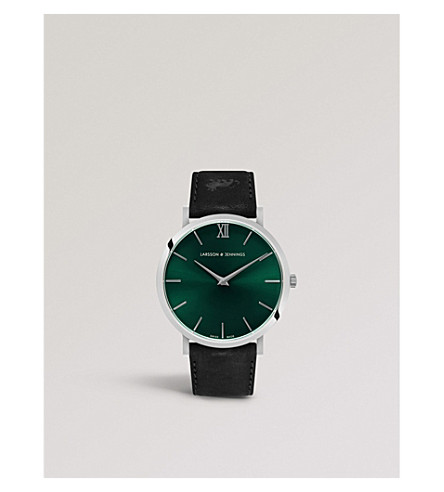 LARSSON & JENNINGS LGN40-LBLK-CS-Q-P-SGRN Lugano Solaris stainless steel and leather strap watch