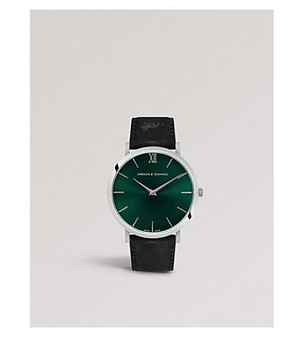 LARSSON & JENNINGS LGN40LBLK-CS-Q-P-SGRN 卢加诺不锈钢和真皮表带手表