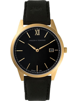 LARSSON & JENNINGS Saxon Black gold-plated and leather watch