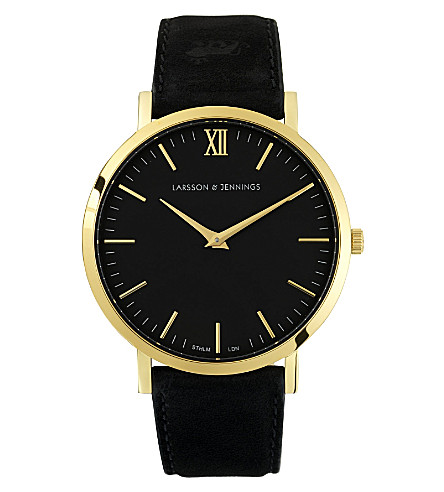 LARSSON & JENNINGS Lader Black gold-plated and leather watch (Black