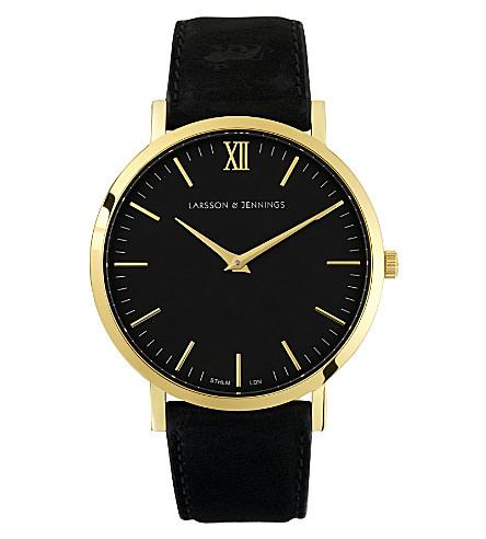 LARSSON & JENNINGS 雷德黑色镀金和皮革手表 (黑色
