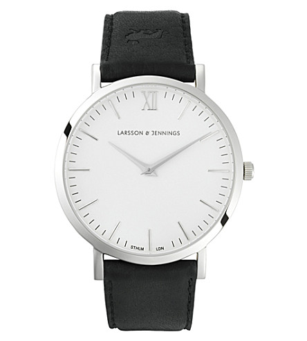 LARSSON & JENNINGS LJ-W-MRKT-L-SW Lugano stainless steel and leather watch