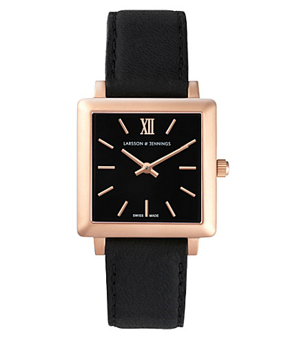 LARSSON & JENNINGS LJ-W-NRS-RG34-O Norse rose gold-plated and leather watch (Black