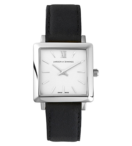 LARSSON & JENNINGS LJ-W-NRS-SW34-O 挪威不锈钢和皮革手表 (白色